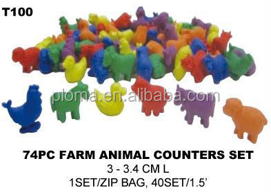 72PC FARM ANIMAL COUNTERS PLASTIC FARM ANIMAL TOY
