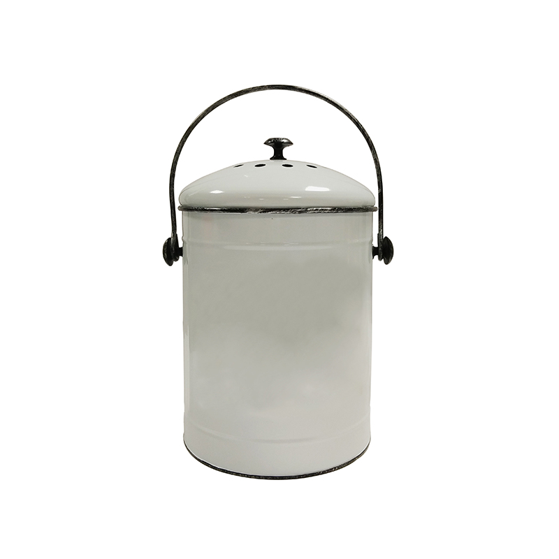 Galvanized Metal Indoor Countertop Kitchen Compost Recycling Bin Pail