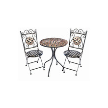 Outdoor Garden Bistro Table & Chairs Set with Mosaic Design