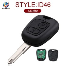 AK009024 Car key 2 Button for Peugeot 206 207 433MHZ key frequency ID46