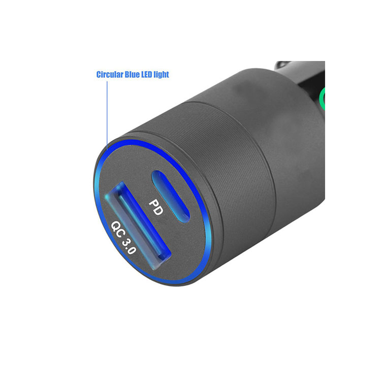 Luodi Fashion design 36W PD + QC3.0 Dual  fast car charger  for high-end individuals design
