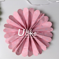 pink polka dot paper pinwheels fan hanging fan girl's birthday for kids birthday party decorations