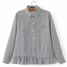 Women sweet striped loose shirts full cotton long sleeve turn down collar blouse pleated casual office wear tops blusas
