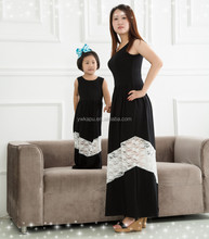 Fashion new detail mother and daughter dress design, cute mommy and me maxi dress