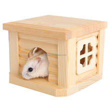 Factory unfinished solid pine wood home decoration small animals hamster wooden pet house