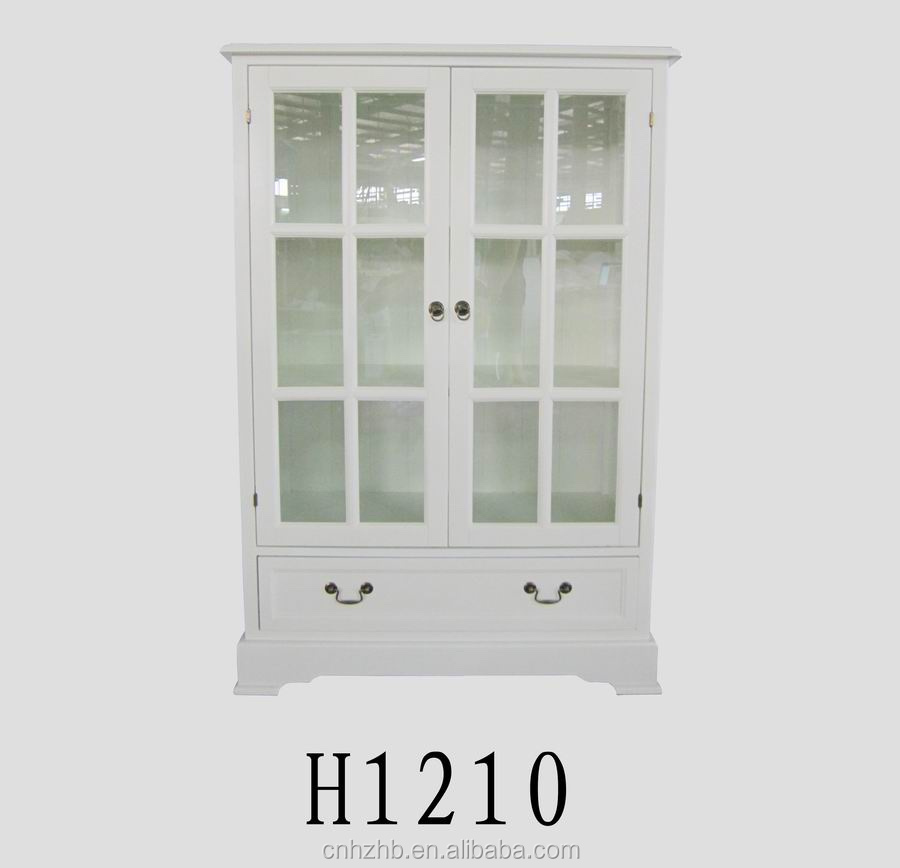 china supplier fashion small wooden display cabinet with glass doors