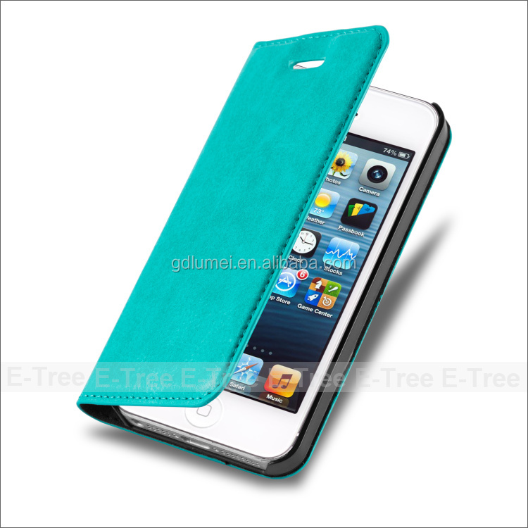 Hot luxury flip wallet pu leather case 4 inch for iphone 5 case