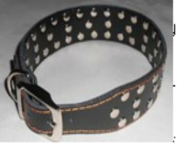 Functional Red Split Leather Pet Collar for dogs with metal NAIL decorated