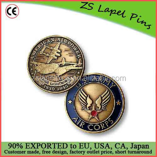 Free artwork design custom quality P-38 Army Air Corps Bronze Antique Coin