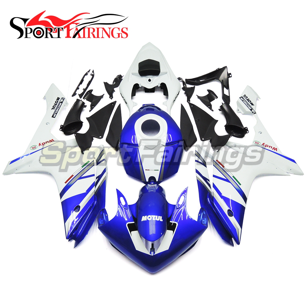 Full Injection <strong>Fairings</strong> For Yamaha YZF <strong>R1</strong> 07 <strong>08</strong> ABS Plastic Injection FIAT Acer Blue White Motorcycle Body Kit