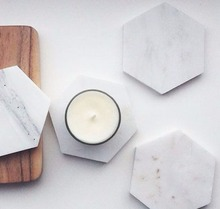 Practical and durable Ultimate table accessory Natural Stone White Marble Coasters hexagon