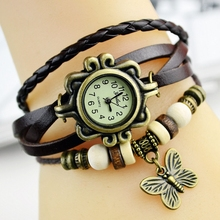 Artificial Braid Butterfly Woman Diy Leather Bracelet Watch Wrap Bracelet