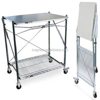 Icegreen Kitchen Use Portable Stainless Steel Folding Work Table/Utility Cart