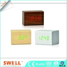 square station handmade wood mantel alarm desk clock