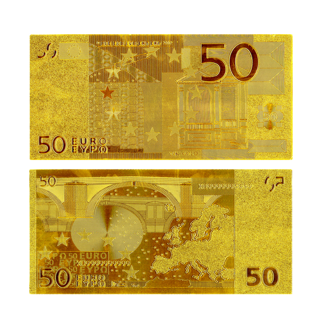 Gold Foil Replica Polymer Banknote 50 Euro Gold Banknote European Fake Euros Money Collections