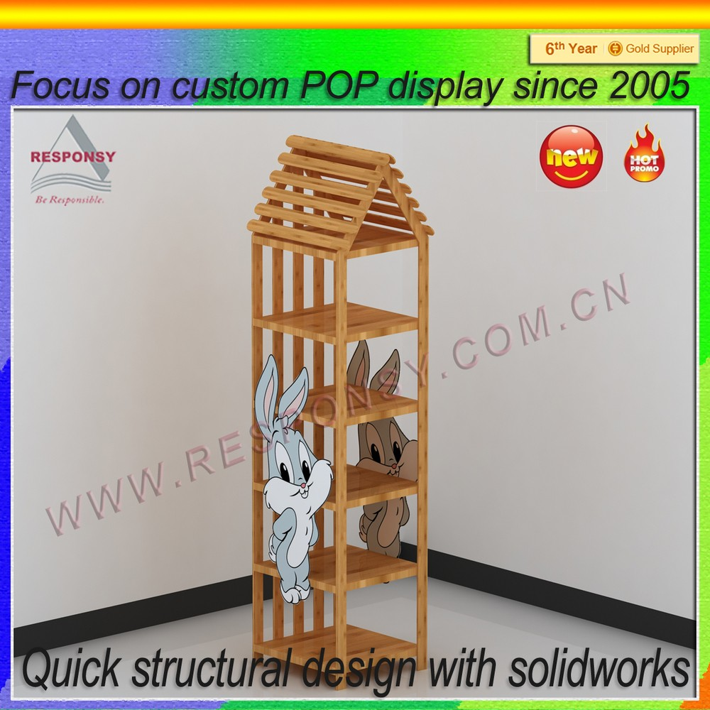 Good quality bamboo point of purchase toys display stand