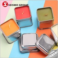 Sliver Square Small Metal Lids Travel Candle Tin Box