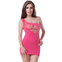 Special Design Asymmetrical Babydoll Dress Yong Ladies Pink Fishnet Sexy Nighties Lingerie
