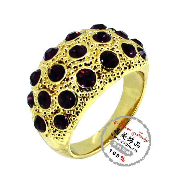 R5708 Jingmei Mix Color Gold Simulated Diamond Rings