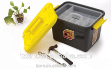 pp plastic home use basic tools storage box storage tray with handle and latch lid