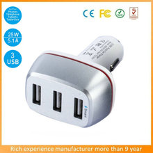 5V/5.1A 3-Port USB car charger adaptor with cool red LED ring for smart phones and tablets