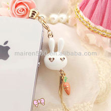 free shipping rabbit crystal dust ear cap plug (XT-008)