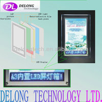 CE A3 crystal led light box with Red/Blue/Whit led scrolling display