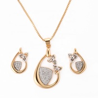 2019 Wholesale Dubai Women Quality Brass CZ 18K Gold Jewelry