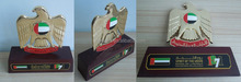 UAE golden falcon stand with wooden base trophy