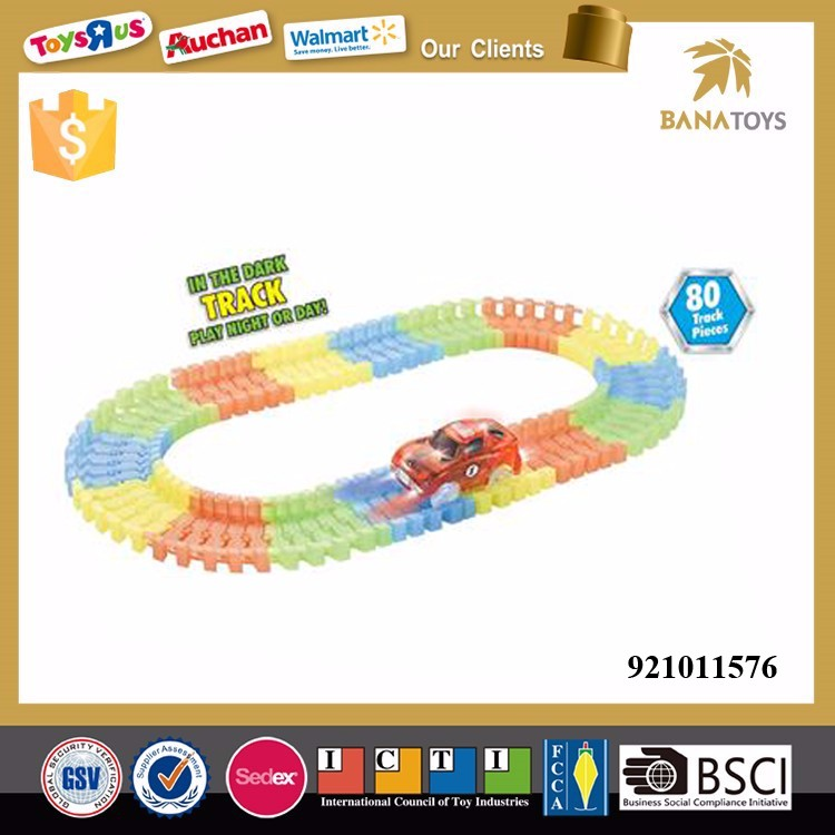 Glow in the dark 80pcs magic track car toy