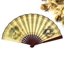 chinese large bamboo men's hand paper fan decoration, big decorative chinese wall hand held paper fans