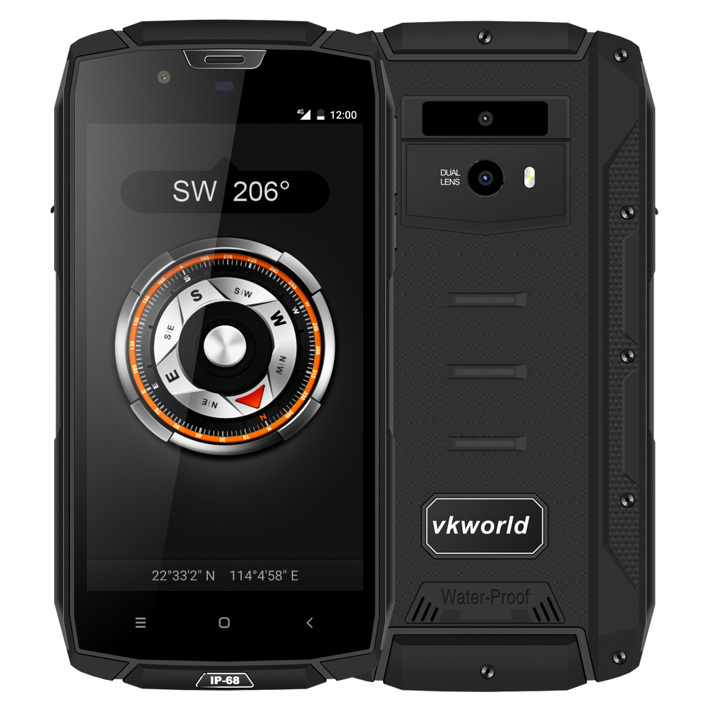 New IP68 Waterproof Phone vkworld vk7000 5.2inch Touch Screen Dual <strong>SIM</strong> 4G Rugged Android 8.0 Smart Phone