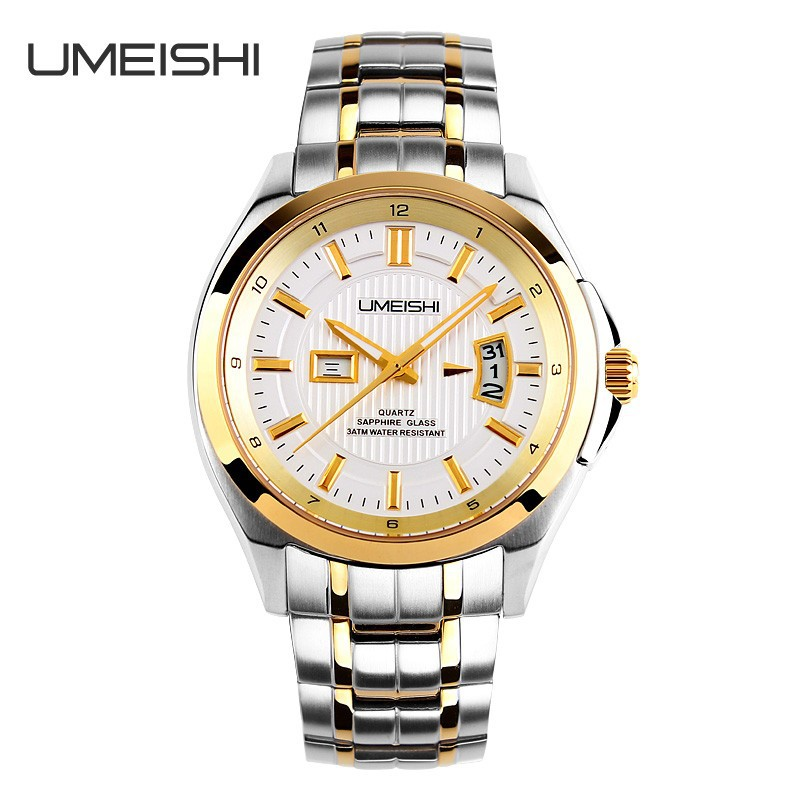 Golden japan movt quartz stainless steel watch 10 atm water resistant