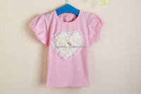 2015 spring slothing,Cute girl fashion t shirt, 100 cotton children clothes t shirt wholesale plain t-shirts