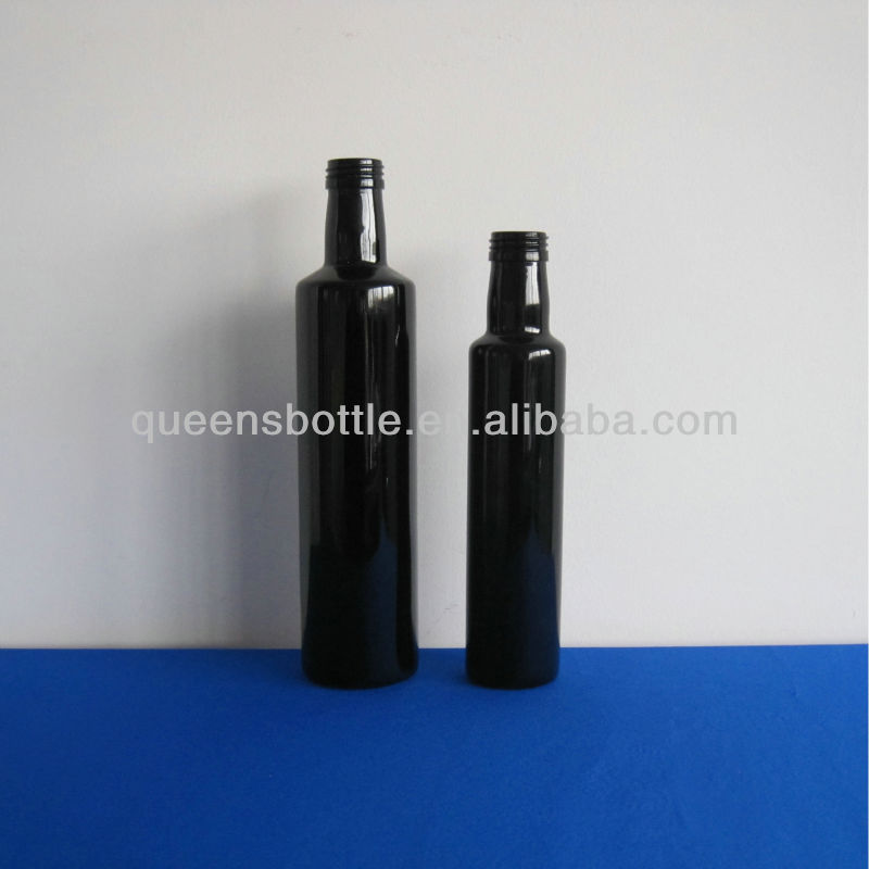 OLIVE OIL BLACK SMALL ROUND GLASS BOTTLE