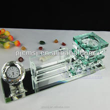 crystal pen holder with beautiful crystal clock for office decoration and gift favors