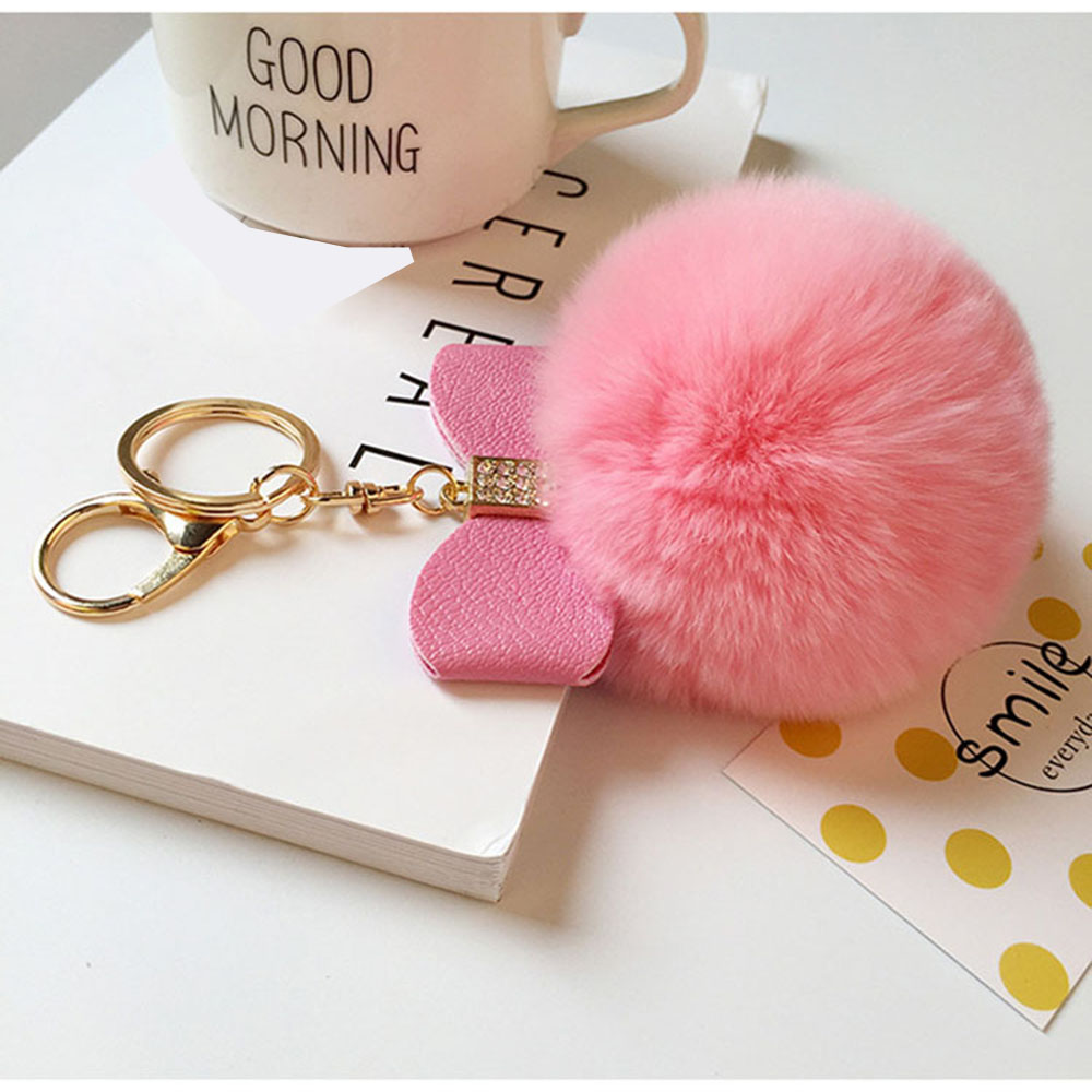 Novelty Keychain with Plush Cute Real Rabbit Fur Key Chain for Car Key Ring Bag Purse Charm (Atrovirens)