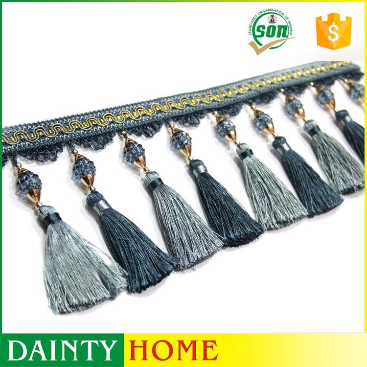 Low Price Of Wholesale Home Textile Blue Curtain Decorative Tassel Fringe