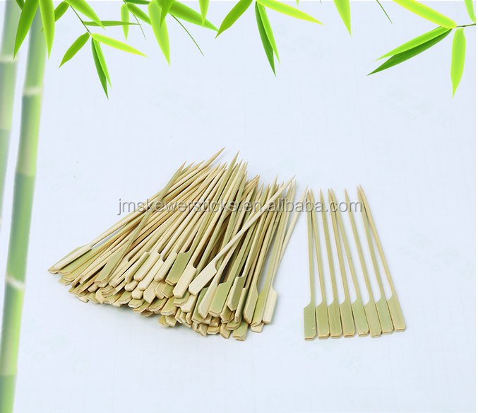 Disposable bamboo paddle gun skewer with thick end
