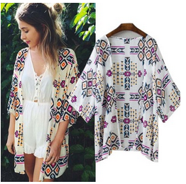 MS72260L Ladies kimono style tops fancy patterns printed chifffon cardiagn