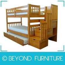 Heavy Duty Solid Wood Bunk Bed with Twin Trundle