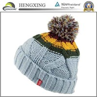 Custom 100% Acrylic Ski Cap Fashion Pom Bobble Hat