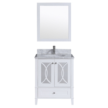 30 inches floor white wooden bathroom vanity bathroom furniture with glass door carrara white marble countertop
