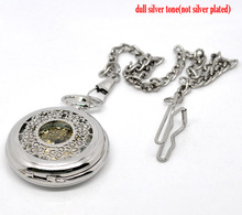 "Silver Tone Chain Quartz Pocket Watch 42cm (16-1/2""),sold per pack of 1,8seasons"