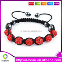 XQ122 Wholesale Crystal Disco Ball Beads 2015 Fashion Handmade Braided Colorful Shamballa Bracelet For Ladies