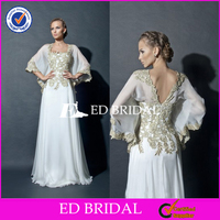 Exquisite Lace Appliqued White Chiffon Long Mother of the Bride Dress 2015