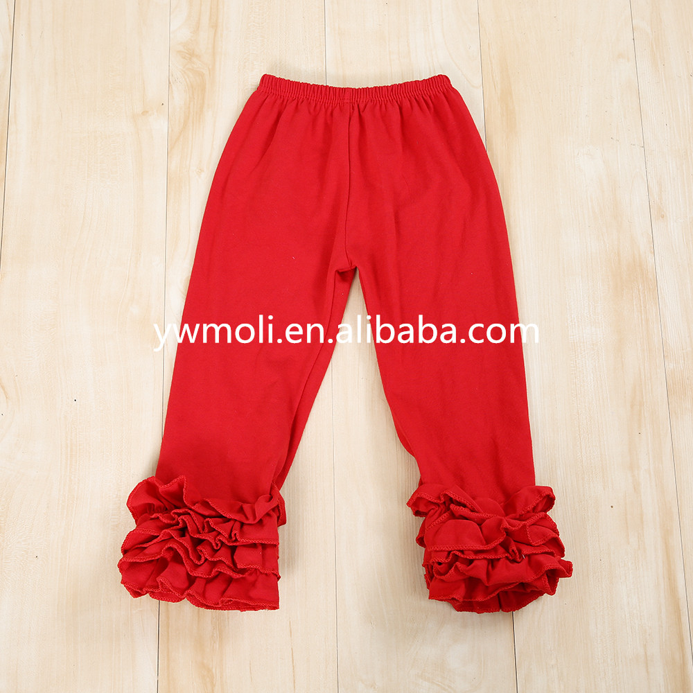 Fashion solid color children wear tight leggings triple ruffle pants baby christmas leggings