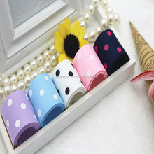 Factory Wholesale 100% Polyester 25mm Cute Dot Design Printed Grosgrain Ribbon For Packaging,Headwear,Garment Accessory