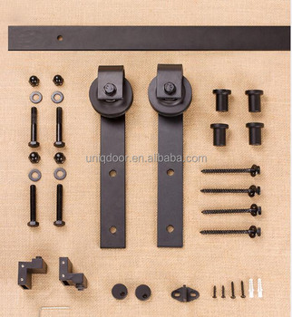 Black powder coated functional sliding door hardware, barn door track