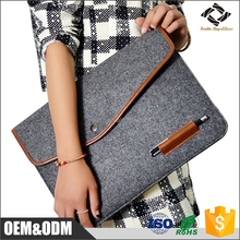 Custom color cheap factory price all size wool felt leather laptop sleeve with pen